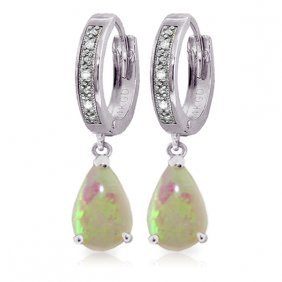 14k White Gold Hoop Earrings With Diamonds & Opals