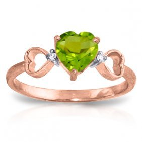 14k Rose Gold Tri Heart Peridot Diamond Ring