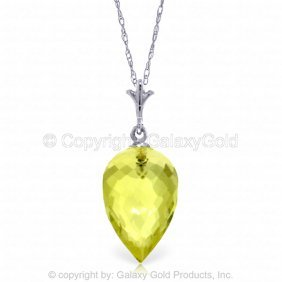 14k White Gold Necklace Pointy Briolette Drop Quartz Le
