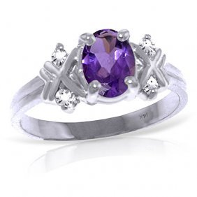 0.97 Carat Platinum Plated Sterling Silver Xo Amethyst
