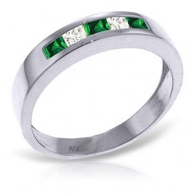 Platinum Plated Sterling Silver Rings With Natural Emer