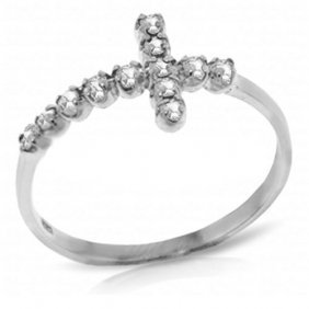 0.18 Carat Platinum Plated Sterling Silver Cross Ring N