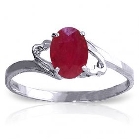 1.15 Carat Platinum Plated Sterling Silver Ring Natural