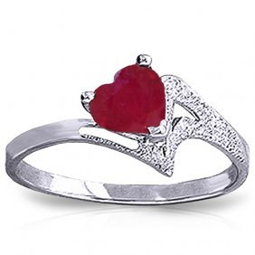 1 Carat Platinum Plated Sterling Silver Loveheart Ruby