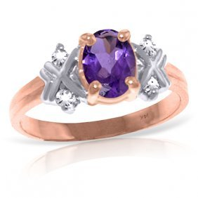 14k Rose Gold Xo Amethyst Diamond Ring