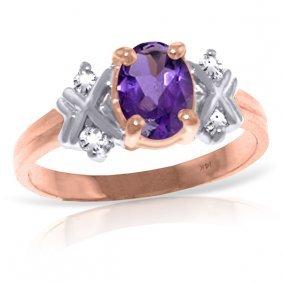 14k Rose Gold Xo Amethyst Diamond Ring
