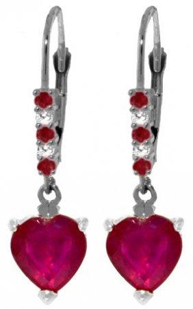 14k White Gold Make The Most Ruby Diamond Earrings