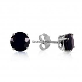 14k White Gold Stud Earrings With 1.0 Ct. Black Diamond