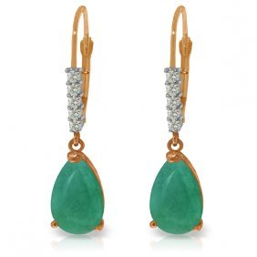 14k Rose Gold Violeta Emerald Diamond Earrings