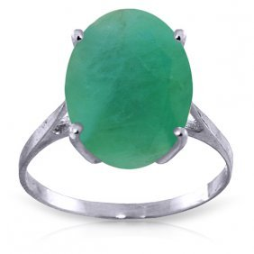 14k White Gold Ring With Oval Emerald