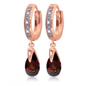 14k Rose Gold Diamond Pear Garnet Drop Hoops
