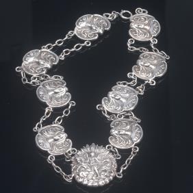 Fishel, Nessler & Co. Art Nouveau Silver Necklace,