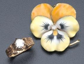 Two Pieces Of Victorian Gold And Diamond Jewelry: