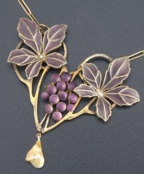Art Nouveau Plique-�-jour And Pearl Necklace In 900