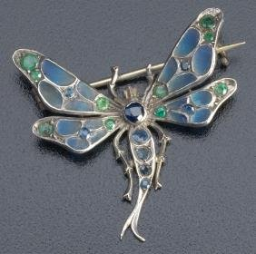 Art Nouveau Dragonfly Brooch In Sterling With Blue
