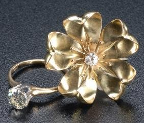 Diamond Ring And Brooch, Ca. 1910: