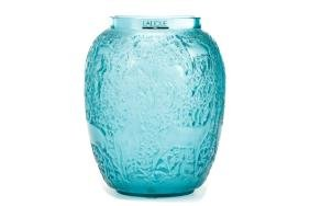 """Lalique """"Biches"""" Turquoise Glass Deer Vase"""