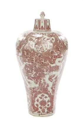 Large Chinese Iron Red & White Meiping Floor Vase