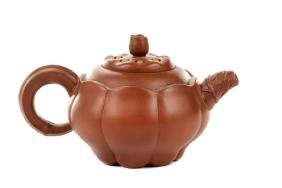 Chinese Lotus Form Red Yixing Zisha Teapot