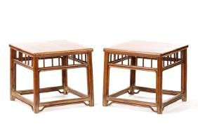 Pair Of Chinese Huanghuali Wood Side Tables