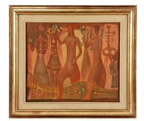 Jorge Gonzalez Camarena, Signed Oil, 1966