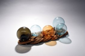 Five Glass Net Floats And Rope.