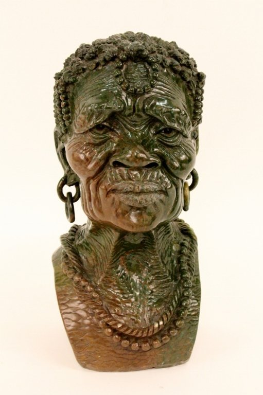 Carved verdite stone female portrait bust lot