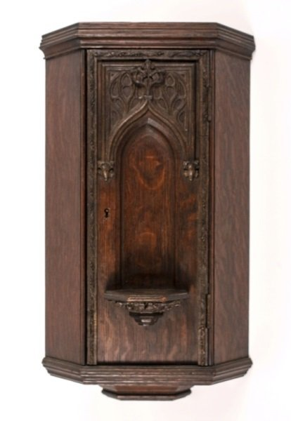 Carved Oak Wall Hanging Small Corner Cabinet Lot 695