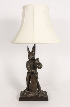 Bronze Rabbit Playing Cello Table Lamp Lot 475