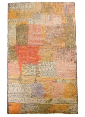 Danish Modern Abstract Wool Rug After Paul Klee Lot 209