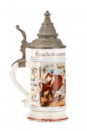 German Porcelain Occupational Bier Stein, Butcher