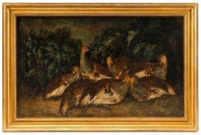 Continental School, Female Pheasants Oil On Canvas
