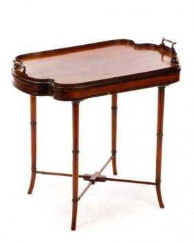 Regency Style Marquetry Inlaid Tray Top Table