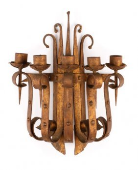 Gothic Revival Style 5 Light Gilt Iron Wall Sconce