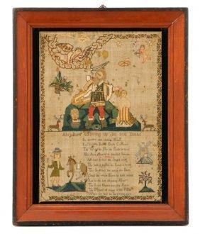 Biblical Embroidered Needlework Pictorial Sampler
