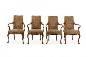 Set Of 4 Queen Anne Walnut Wood Open Armchairs