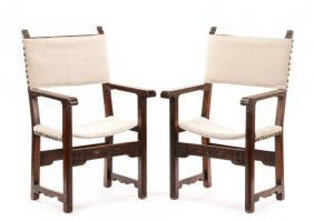 Pair Of Renaissance Style Walnut Armchairs, 19th