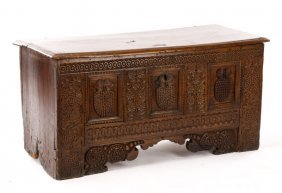 Baroque Style Walnut Carved Cassone W/grapes