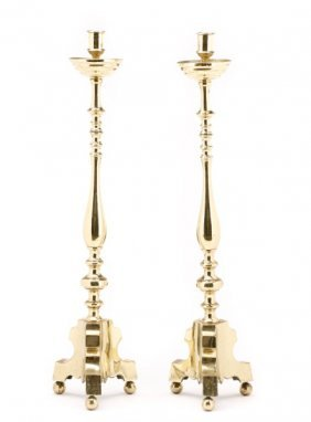 Pair Of Tall Brass Candle Altar Sticks