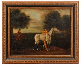 Equestrian Landscape Scene, Oil, 18th C.