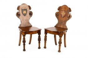 Pair Of English Renaissance Revival Hall Chairs