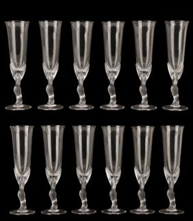 Set Of 12 Kissing Snow Dove Crystal Champagnes