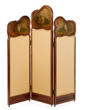 3 Panel Screen W/ Hand Painted Figural Panels