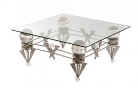 One-of-a-kind Chrome & Lucite Sculptural Table