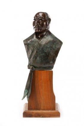 Bust Of Japanese Samurai, Bronze, Signed