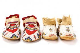 Group Of 2 Pairs Beaded Ceremonial Moccasins