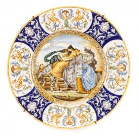 Large Italian Ceramic Majolica Charger, 19th C.