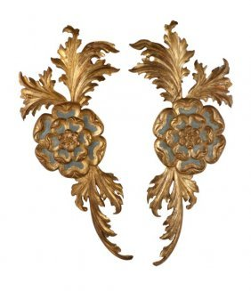 Pair Of Italian Carved & Giltwood Wall Appliques
