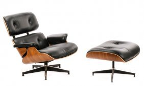 Eames Black Leather Lounge Chair & Ottoman 670/671