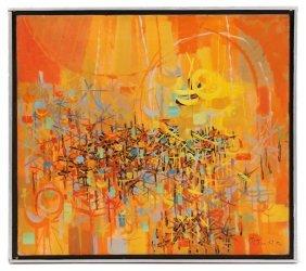 Gabor F. Peterdi, Orange And Yellow Abstract, Oil